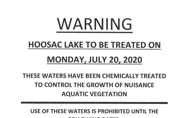Hoosac Lake to be treated on July 20, 2020